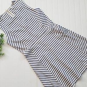 J Crew Navy White Stripe Fit and Flare Dress sz 6
